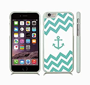 iStar Cases? iPhone 6 Case with Chevron Pattern Mint/ White Stripes Mint Anchor , Snap-on Cover, Hard Carrying Case (White)