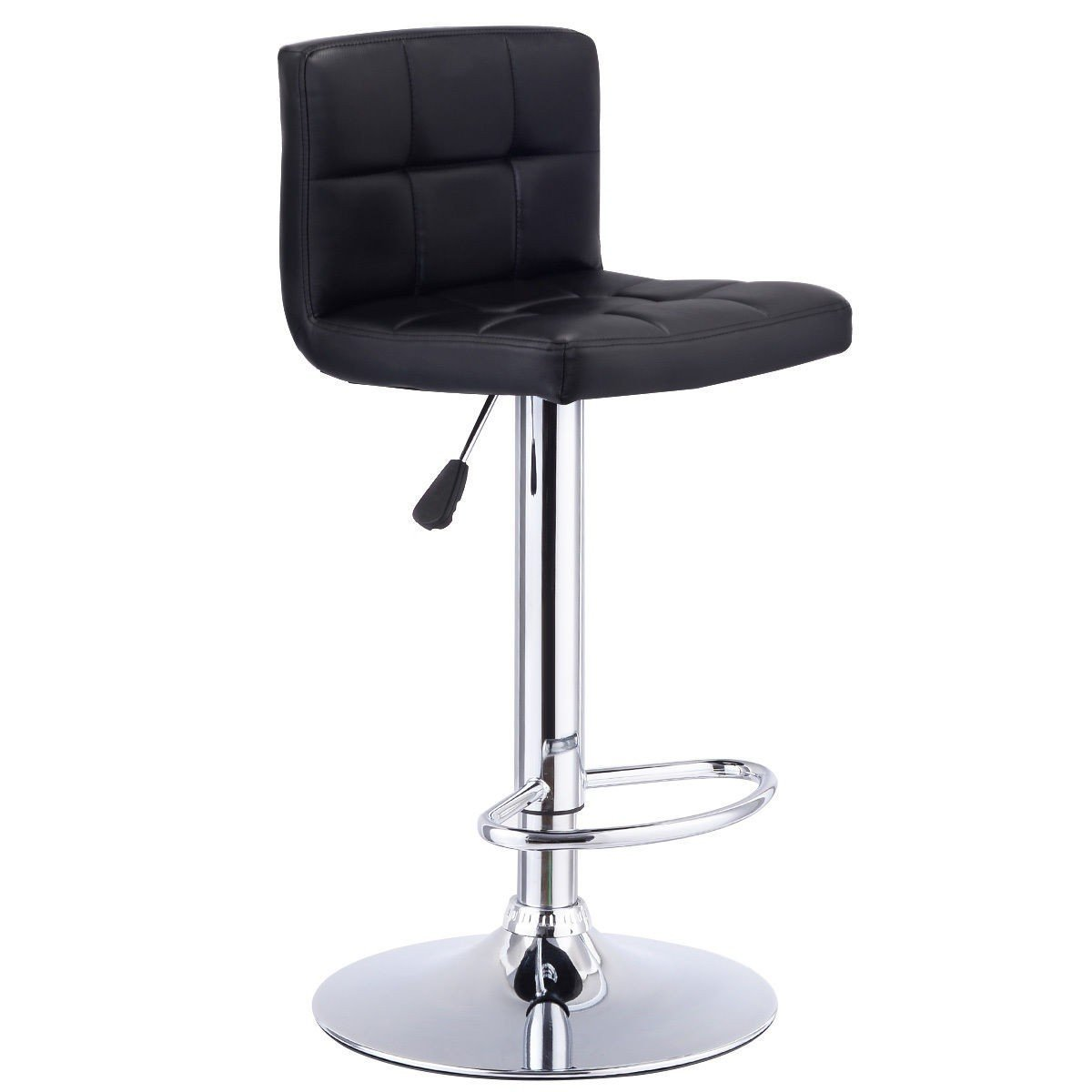 GentleShower Barstools, Modern Square Shape Swivel Bar Stool Bistro Chair PU Leather Adjustable Hydraulic Pub Chair Counter Barstool with Backrest, 1 Pcs Black