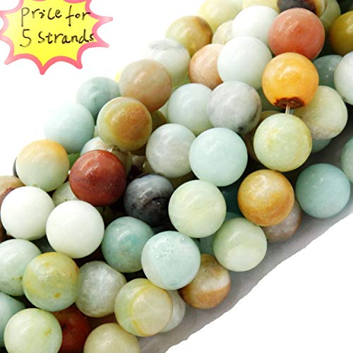 Gemstone Beads for Jewelry Making, Sold per Bag 5 Strands Inside, Mix-Color Amazonite 8mm