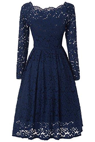 Viwenni Women's Vintage Floral Lace Cocktail Summer Swing Dress L Blue (Special Dress Occasion)