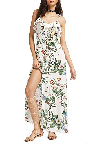 Floerns Women's Sleeveless Halter Neck Vintage Floral Print Maxi Dress Small White-Green