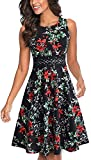 HOMEYEE Women's Sleeveless Cocktail A-Line Embroidery Party Summer Wedding Guest Dress A079(12,Black+Floral 3)