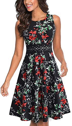 HOMEYEE Women's Sleeveless Cocktail A-Line Embroidery Party Summer Wedding Guest Dress A079(10,Black+Floral 3) ()