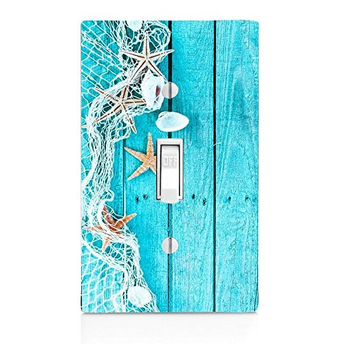 GYC1 Delicate nautical border with fishing net, sea shells and starfish pictured on a LIGHT SWITCH COVER OR OUTLET (1X TOGGLE, OPTION 1) - Fishing Border