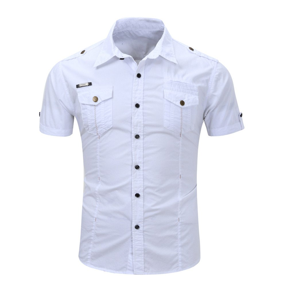 WEUIE Clearance Sale Men's Casual Button O Neck Pullover Short Sleeve T-shirt Top Blouse (M,White )
