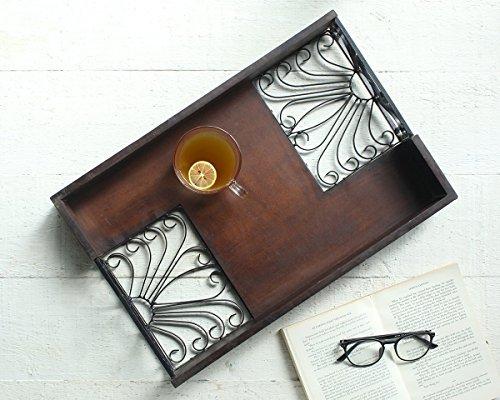 Store Indya Wooden MDF Decorative Tray Platter with Floral Design Handmade Designer Tray Serveware Kitchen Accessories