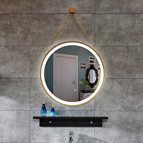 Anchor1 LED Lighted Bathroom Mirror Round Makeup Mirror Creative Rope Hanging Mirror -