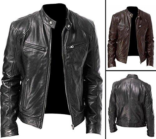 860e1cfda Vintage Cafe Racer Black & Brown Retro Biker Unisex Genuine Leather Jacket  at Amazon Men's Clothing store: