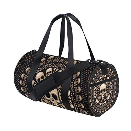 KUDOUXIA Rosette Consist Skulls Bones Eps8 Water Resistant Gym Sports with independent zipper Travel Duffel Bag for Women and Men