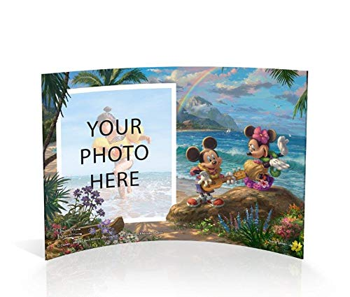 Trend Setters Disney Mickey Mouse and Minnie Mouse in Hawaii Photo Upload Personalized Curved Acrylic Print by Thomas Kinkade Studios Free Standing Collectible by Trend Setters