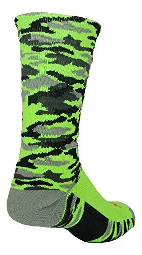 Woodland Camo Crew Socks (Neon Green Camo, Large)