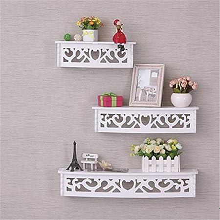 Onlineshoppee Wooden Decorative Floating Wall Shelf,White,Set of 3