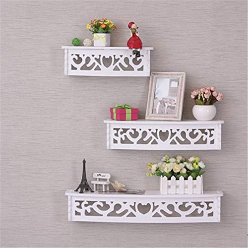 Onlineshoppee Wooden Decorative Floating Wall Shelf,White,Set of 3