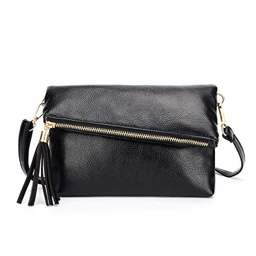 Foldover Purse Evening Envelope Clutch Tassel Crossbody Bag Black Lightweight Wristlet Simple Bag-Sibalasi (Black)