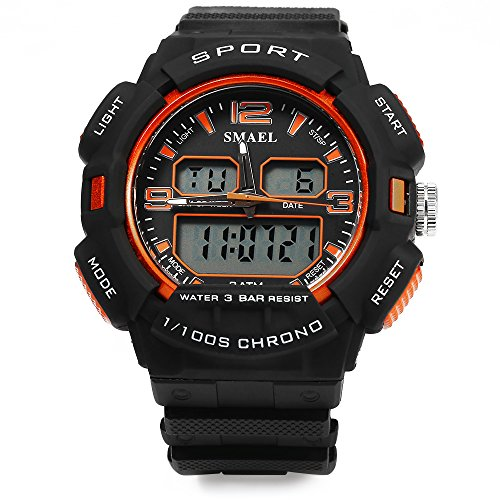 ELEOPTION® Male Watch Chronograph Calendar Digital LED Backlight Rubber Strap 3BAR Water Resistant Bracelet Watch - Australia Price Ferrari