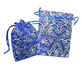 KINGWEDDING 100pcs Blue and White Print Organza Bags 5*7 inches