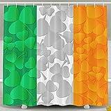 Irish Flag With Shamrocks Shower Curtain