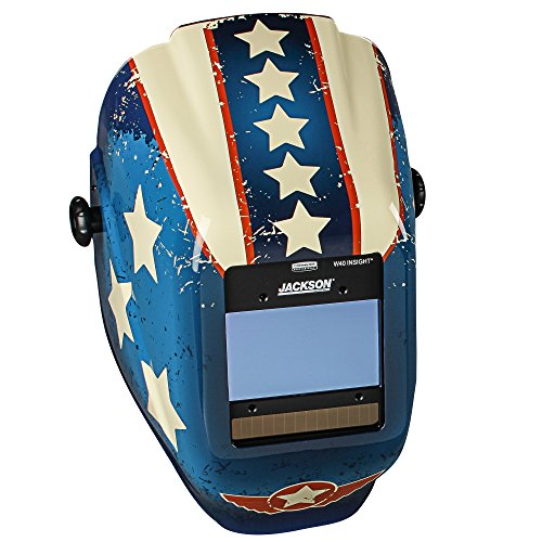 Jackson Safety Insight Variable Auto Darkening Welding Helmet (46101), Hlx, 370 Comfortable Headgear, Ultra Light Shell, Stars & Scars, 1 Helmet by Jackson Safety