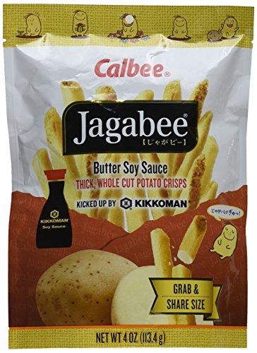 Calbee Jagabee Thick Whole Cut Potato Crisps, Butter Soy Sauce, 4 Ounce
