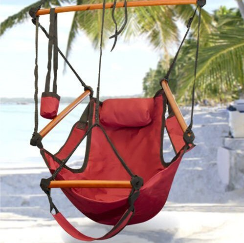 Amazon.com : Sunnydaze Deluxe Hanging Hammock Air Chair with Pillow and  Drink Holder, Solid Wood Bars, 24 Inch Wide Seat, Max Weight: 250 Pounds,  ... - Amazon.com : Sunnydaze Deluxe Hanging Hammock Air Chair With