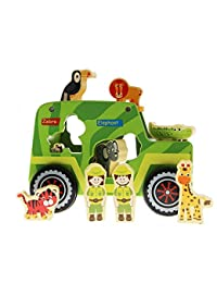 Wooden Toys Safari Shape Sorter - Safari Truck Toys Series Educational Toys for Toddler Learning with Animal Shaped Wooden Blocks BOBEBE Online Baby Store From New York to Miami and Los Angeles