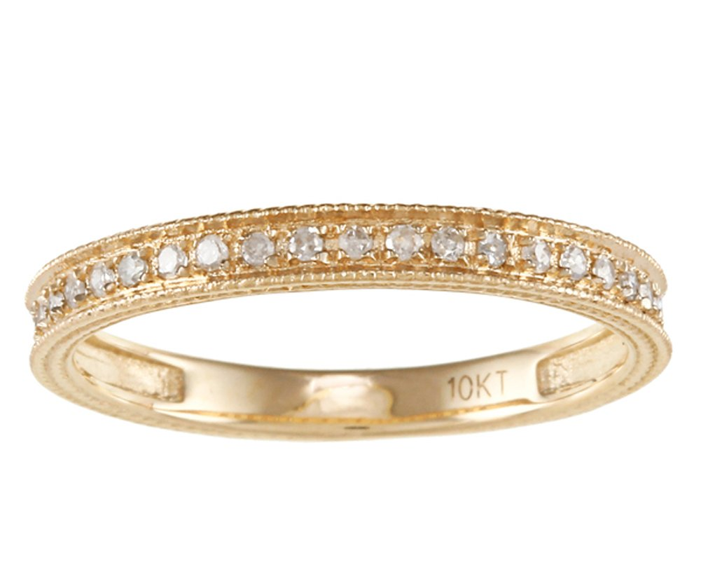 10k Yellow Gold Vintage Style Diamond Wedding Anniversary Band (1/7 cttw, I-J Color, I2-I3 Clarity)