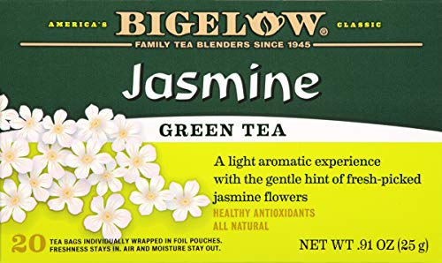 Bigelow Green Tea with Jasmine 20 Bags (Pack of 6) Caffeinated Individual Green Tea Bags, for Hot Tea or Iced Tea, Drink Plain or Sweetened with Honey or - Jasmine Tea Green