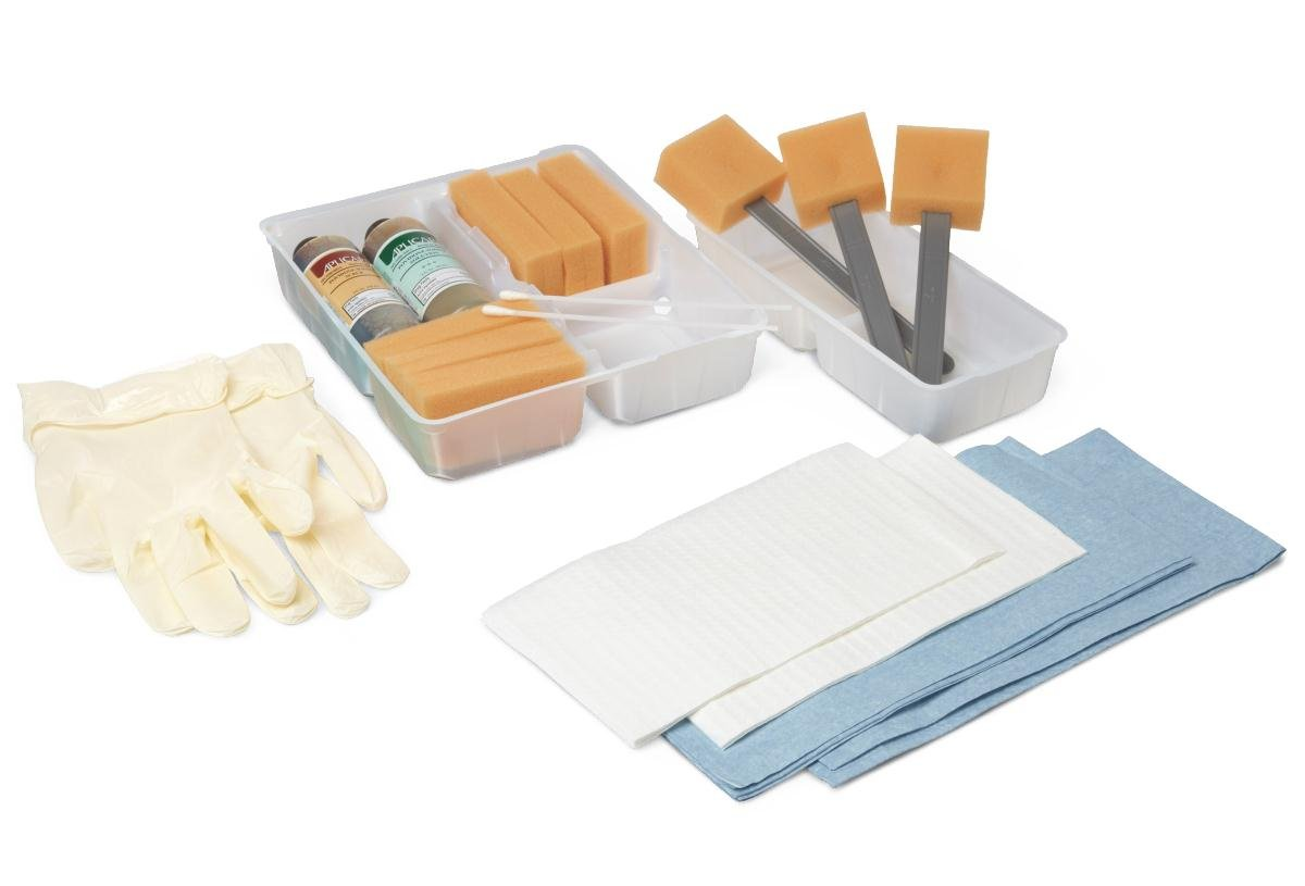 Medline DYND70360 Scrub Trays with Wet Skin, Premium, 4 Compartment Tray (Pack of 20)