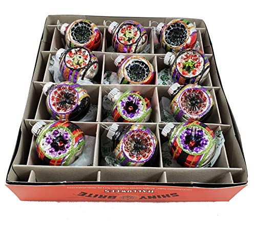 Shiny Brite 12 Count Halloween Reflector Decorated Glass Ornaments Spider