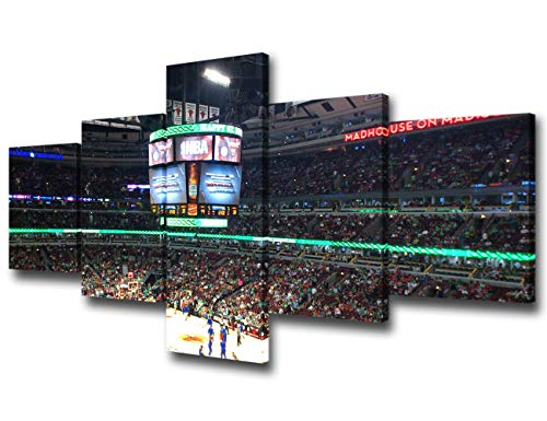 Sports Room Decorations Chicago United Center Stadium Paintings NBA - Chicago Bulls Pictures 5 Piece Canvas Wall Art Home Decor for Living Room Framed Gallery-wrapped Ready to Hang - 50''Wx24''H
