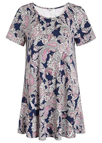 Esenchel Women's Tunic Top Casual T Shirt for Leggings L Navy Paisley Print