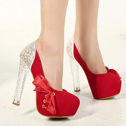 Azbro Mujer Sandalias de Tacón Alto con Puntera Redonda Increíbles Lentejuelas Adorno Lazo Rojo