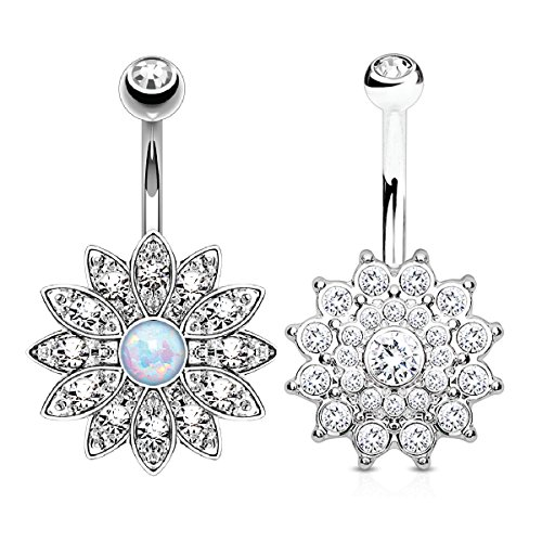 BodyJ4You Belly Button Ring Jeweled Flower Crystal Created Opal Silvertone 14G Piercing Bar 2-Piece