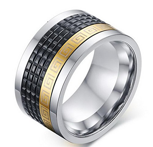 PSRINGS 12mm Wide Retro Style Stainless Steel s Ring With Greek Key Pattern Black 18K Gold Plated Ring Rotating Spinner Ring 12.0 - Greek Warrior Costume Pattern
