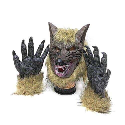 Creepy Full Face Wolf Latex Mask and Wolf Claws Theater Prank Prop Crazy Masks Halloween Costume (Crazy Halloween Pranks)