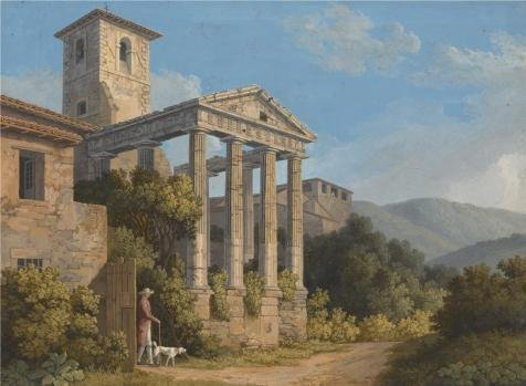 Oil Painting 'The Temple Of Hercules In Cori Near Velletri, 1783 By Jakob Philipp Hackert' 24 x 33 inch / 61 x 83 cm , on High Definition HD canvas prints, gifts for Bath Room, Garage And Nurs decor ()