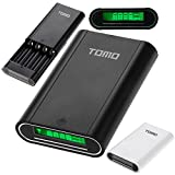 Aurabuy Tomo Smart 4 X 18650 External Battery Charger Power Bank with LCD Display - Black