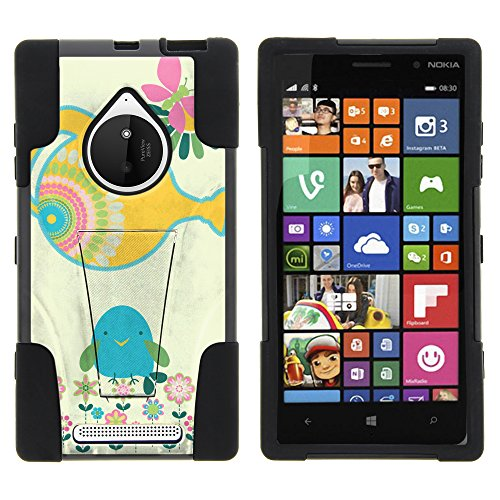 Nokia Lumia 830 Case, Full Body Fusion STRIKE Impact Kickstand Case with Exclusive Illustrations for Nokia Lumia 830 (AT&T, T Mobile, Verizon) from MINITURTLE | Includes Clear Screen Protector and Stylus Pen - Watering Bird