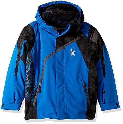 Spyder Boys' Challenger Ski Jacket, Turkish Sea/Cloudy Reflective Distress Prt/Polar, Size 12 (Snowboard Spyder Jacket Boys)