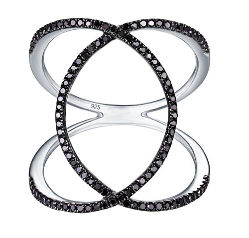 Diamond Criss Cross Ring - Prism Jewel 0.31Ct Round Black Diamond Criss Cross Wrap Ring, 925 Sterling Silver Size 7
