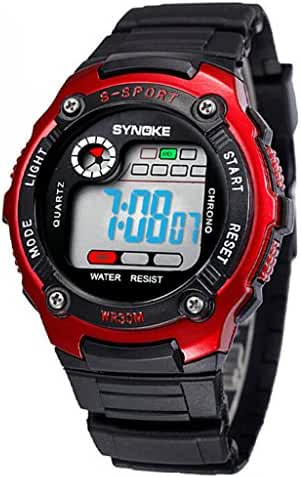 Water Resistant Digital Electronic Military Outdoor Wrist Sport Watch For Age 7-15 Years Old Red