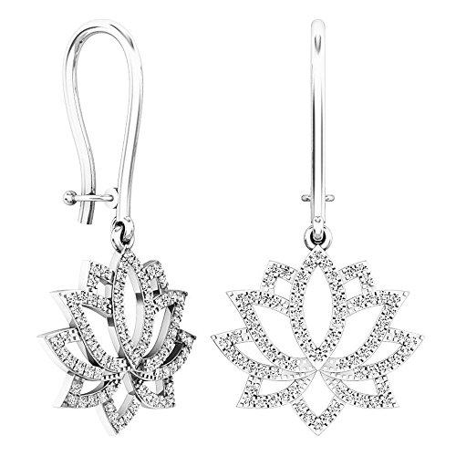 Dazzlingrock Collection 0.25 Carat (ctw) 14K Round White Diamond Ladies Cluster Flower Drop Earrings 1/4 CT, White Gold