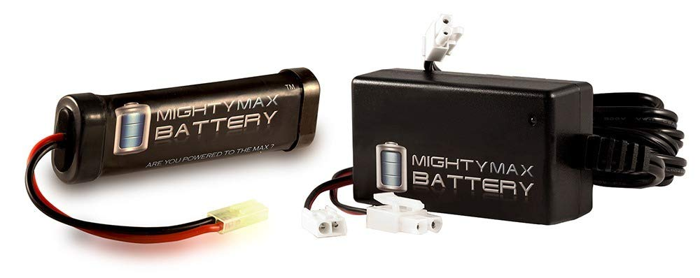 Mighty Max Battery 9.6V 1600mAh Flat Replaces Kalashnikov AK-47 FPS-485 AEG + 9V Charger brand product by Mighty Max Battery