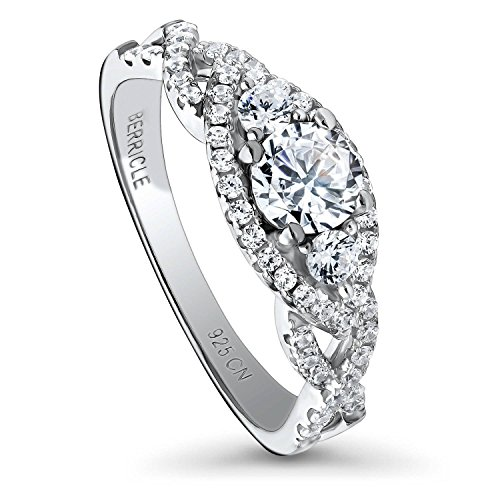 BERRICLE Rhodium Plated Sterling Silver Halo 3-Stone Woven Promise Engagement Ring Made with Swarovski Zirconia Round 0.92 CTW Size 4
