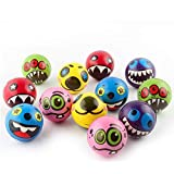 12 Pieces Bouncy Ball Toy Monster Expression Elastic Ball Set-FER2923