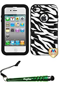 FoxyCase(TM) FREE stylus AND APPLE iPhone 4S 4 Natural Black Zebra Skin (White Black)TUFF eNUFF Hybrid Phone Protector Cover cas couverture