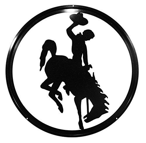 "U of WYOMING COWBOYS COWGIRLS BUCKING HORSE 24"" Black Sparkle Scenic Art Wall Design"