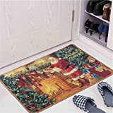 Junovo Stocking Stuffer Christmas Rugs, Father Christmas Decorative Carpet Floor Mat Welcome Home Holiday Doormat