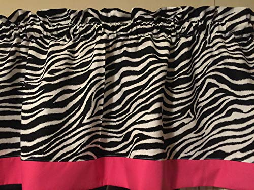 Zebra Stripe Horse Animal Black White Pink Bedroom Anyroom Window Treatment Valance Decor (Curtains Valance Zebra)