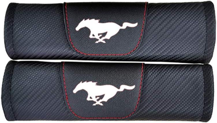 TDPQR 2 Piezas Almohadillas para Cintur/ón de Seguridad Coche Bordado con Marca de Logo Protectores de Coche Hombro para Ford Mustang Coche Estilo Interior Accesorios